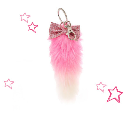 Pink and White Plush Fox Tail Keychain