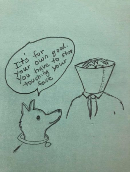 Image result for cartoon dog cone man touching face