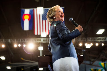 Hillary Clinton during a campaign rally at the Colorado State Fairgrounds in Pueblo on Wednesday.