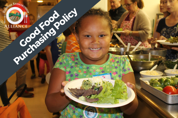 The Good Food Purchasing Policy is a Primary Issue - Photo of young girl smiling, holding up locally sourced lunch.