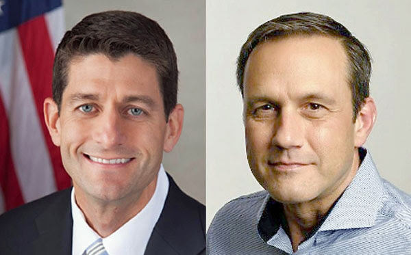 House Speaker Paul Ryan, left, is being challenged in the Aug. 9 Wisconsin primary by businessman Paul Nehlen, right.