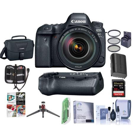 EOS 6D Mark II DSLR with EF 24-105mm f/4L IS II USM Lens With Canon BG-E21 Battery Grip -