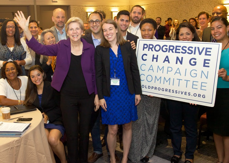 Elizabeth Warren, Adam Green, Stephanie Taylor, and trainees at the PCCC's National Candidate Training.