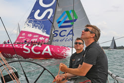 J/111 BLUR crossing tacks with Volvo 65 Team SCA